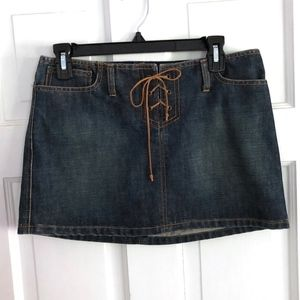 Abercrombie & Fitch Jean Skirt with Leather Tie